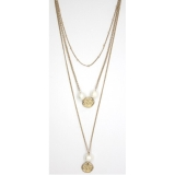 3-Tier Pearl & Textured Dics Long Necklace