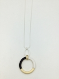 3-Tone Ring Pendant Long Necklace