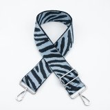 Canvas Baby Blue Zebra Print Bag Strap (Silver Finish)