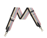 Canvas Black, Beige, Blue & Pink Stripe Bag Strap (Gold Finish)