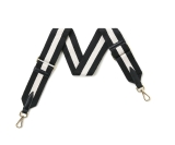 Canvas Black & Cream Striped Bag Strap (Gold Finish)