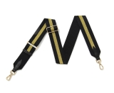 Canvas Black & Gold Striped Bag Strap (Gold Finish)