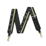 Canvas Black & Gold Striped With Silver Star Print Bag Strap