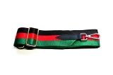 Canvas Black, Green & Red Striped Bag Strap