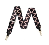 Canvas Black & Pink Zig-Zag Bag Strap (Gold Finish)