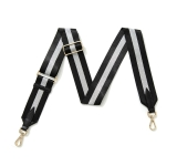 Canvas Black & Silver Striped Bag Strap (Gold Finish)