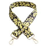 Canvas Black & Yellow Leopard Print Bag Strap (Gold Finish)