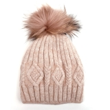 Chunky Ribbed Detail Pompom Hat