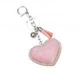 Crystal Border Heart & Charms Key Ring