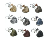 Crystal Border Leopard Print Heart & Charms Keyring