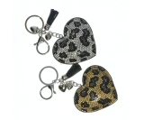 Diamante Heart Leopard Print & Charms Keyring