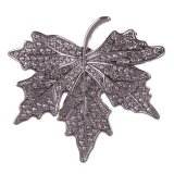 Diamante Leaf Magnetic Brooch