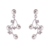 Diamante & Pearl Twigged Drop Earrings