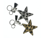 Diamante Star Leopard Print & Charms Keyring