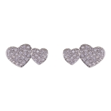 Double Diamante Heart Stud Earrings