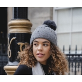 Embellished Ribbed Hat With Pompom
