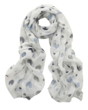 Heart Print Sequin Scarf