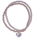 2 Layer Heart Pendant Beaded Stretch Bracelet