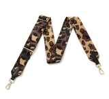 Canvas Black, Gold & Brown Leopard Bag Strap (Gold Finish)