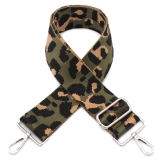 Canvas Green Leopard Print Bag Strap (Silver Finish)