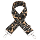 Canvas Grey Leopard Print Bag Strap (Silver Finish)