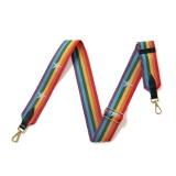 Canvas Multi-Colour Striped With Star Bag Strap (Gold Finish)