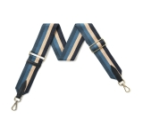 Canvas Navy, Denim & Beige Stripe Bag Strap (Gold Finish)