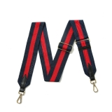 Canvas Navy & Red Striped Bag Strap