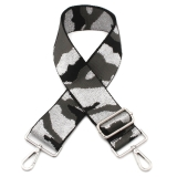 Canvas Silver, Grey & Black Camouflage Bag Strap (Silver Finish)