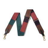 Canvas Tan, Teal, Purple & Brown Colour Block Strap (Gold Finish)