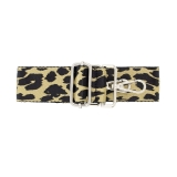 Canvas Taupe & Black Leopard Print Bag Strap (Gold Finish)
