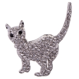 Diamante Cat Brooch