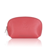Italian Leather Curved Cosmetic Pouch