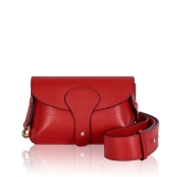 Italian Leather Mini Cross-Body Bag With Wide Strap (Gold Finish)