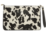 Italian Leather Animal Print Zip Detail Clutch