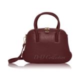 Italian Leather Small 2-Compartment Gold Detail Grab Bag