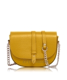 Italian Leather Stud Strap Saddle Bag With Chain/Leather Strap