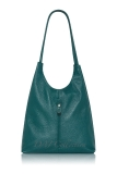 Italian Leather Vertical Zip Detail Slouch Shoulder Bag