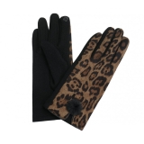 Leopard Print With Pompom Detail Gloves