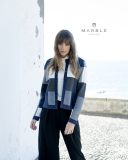 Marble Checked Print Short Jacket/Cardigan