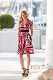 Marble V-Neck Swirly Print Ruched Dress