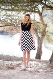 Marble V-Neck Zig-Zag Striped Print Dress