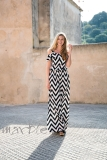 Marble Zig-Zag Striped Cut-Out Shoulder Maxi Dress