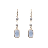 Moon Stone & Crystal Beaded Drop Earrings