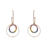 Rainbow Hoop-In-Hoop Drop Earrings