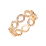 Round Diamante & Plain Linked Ring