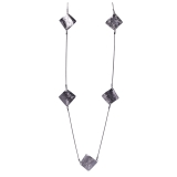 Scratched Diamond Shaped Linked Long Necklace