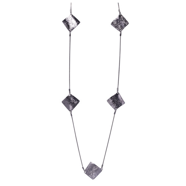 scratched-diamond-shaped-linked-long-necklace-silver