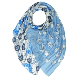 Shaded Floral Silver Print Scarf