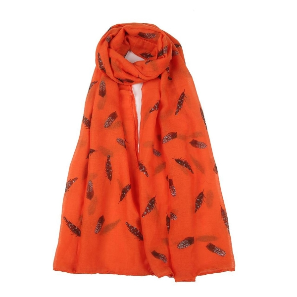 sparkly-feather-printed-scarf-orange